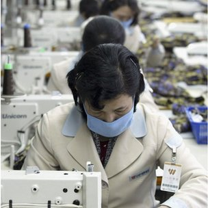 North Korean textile workers