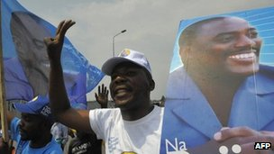 Supporters of incumbent President Joseph Kabila celebrate his re-election as President of the Democratic Republic of the Congo in December 10, 2011 Goma.