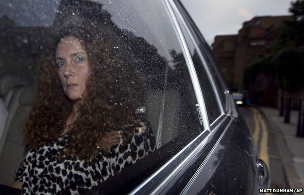 Rebekah Brooks, the then chief executive of News International is driven away from the offices of the company in Wapping, London, after it was announced the News of the World newspaper would be shut down, 7 July 2011