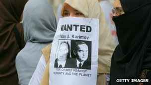 Uzbek women take part in anti- Karimov demonstration 