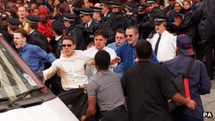 The five men accused of killing Stephen Lawrence, including David Norris (left) and Gary Dobson (right) leaving the public inquiry in 1998