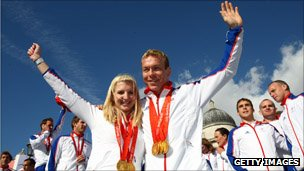 Rebecca Adlington (left) and Chris Hoy (right) at the Olympic and Paralympic Heroes Parade in 2008