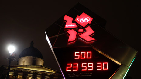 The Olympic countdown clock in Trafalgar Square