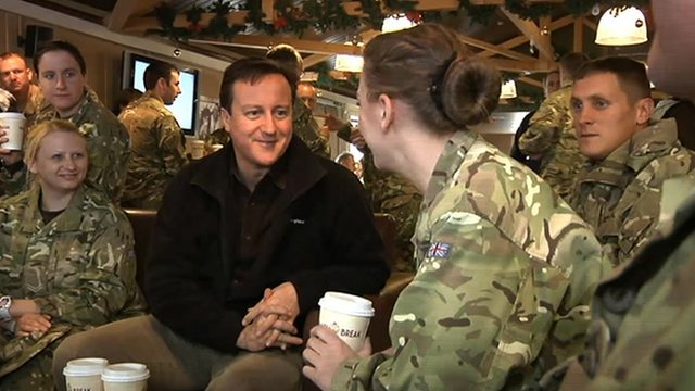 David Cameron with troops in Kandahar