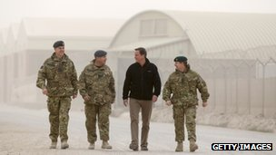 David Cameron with senior UK military personnel in Afghanistan