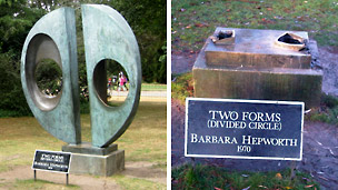 Barbara Hepworth's Two Forms (Divided Circle) and the empty plinth