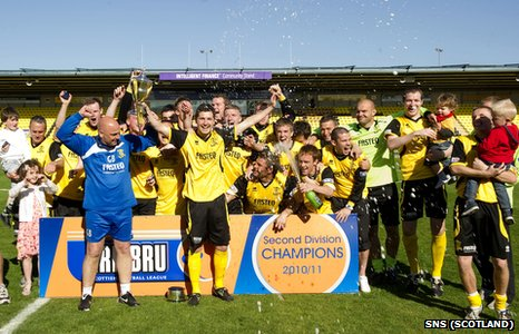 Livingston celebrate winning last season's Second Division title