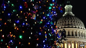 Christmas tree lights at the US Capitol