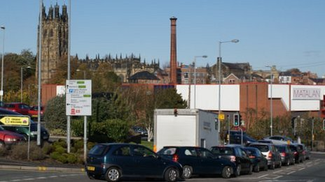 Tuttle Street chimney and St Giles Church dominate Wrexham's skyline