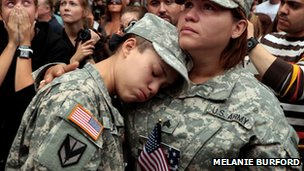 Soldiers crying at a ceremony to mark a decade on from the 9/11 attacks