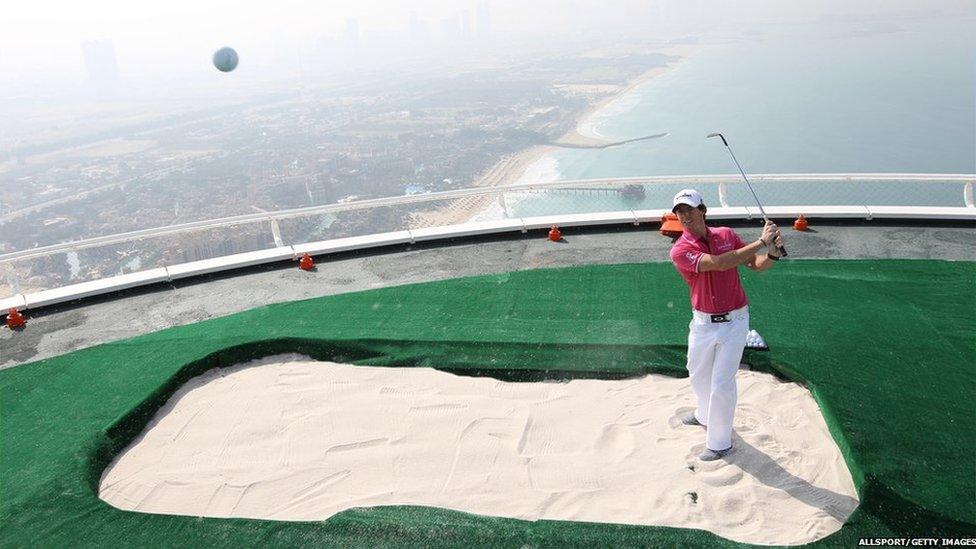 Rory McIlroy On Helipad Over Dubai