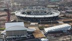 Aerial shot of the Olympic Stadium, with the aquatics centre and water polo arena in the foreground, and the Tower by Anish Kapoor to the left, in the Olympic Park, Stratford, picture taken on 5 December 2011 by Anthony Charlton