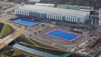 Aerial shot of the hockey pitches and media centre in the Olympic Park, Stratford, picture taken on 5 December 2011 by Anthony Charlton