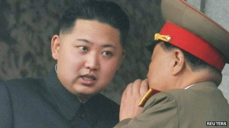 Kim Jong-un (left), the youngest son of late North Korean leader Kim Jong-il, with an official during the 65th anniversary of the founding of the Workers&#039; Party of Korea in Pyongyang on 10 October 2010
