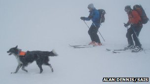 Chester and skiers. Pic: Alan Dennis/SAIS