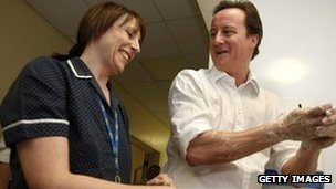 David Cameron with nurse