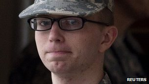 Bradley Manning is escorted from court at Fort Meade, Maryland, on 21 December 2011