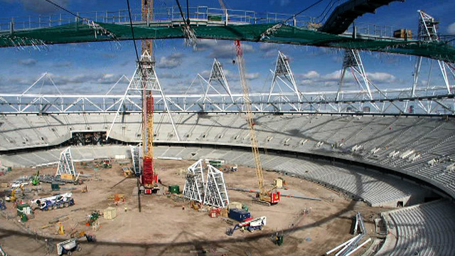 Timelapse sequence of Olympic Stadium construction
