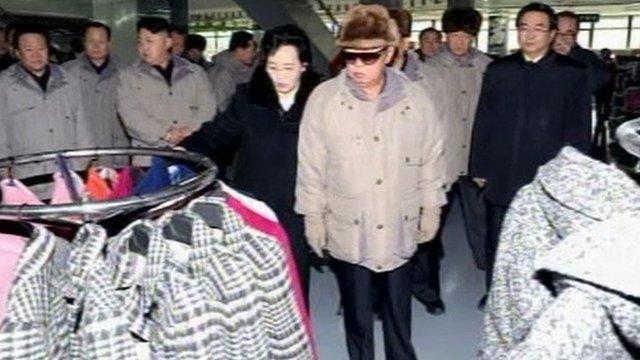 Kim Jong-il touring a supermarket