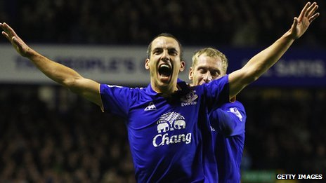 Leon Osman celebrates