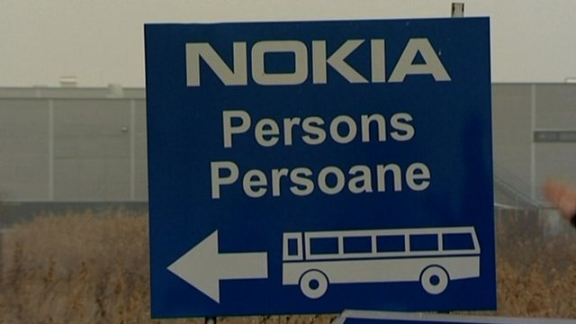 Nokia sign outside assembly plant in Romania