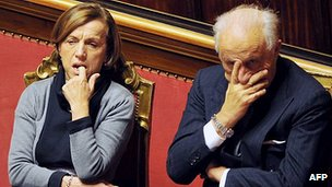 Italian Welfare Minister Elsa Fornero and Sports Minister Piero Gnudi listen to austerity debate, 22 Dec 11
