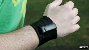 The Fitbit Ultra on a man's wrist