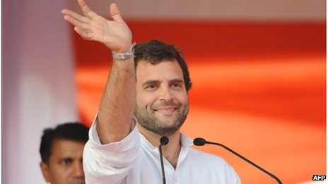 Rahul Gandhi at a public meeting in India