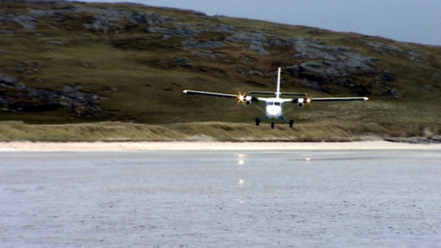 Plane flying above Barra