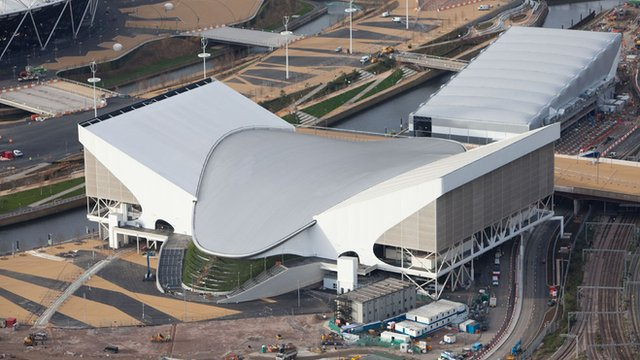 Aerial shot of the Aquatics Centre, and the water polo arena behind, in the Olympic Park, Stratford, picture taken on 5 December 2011 by Anthony Charlton