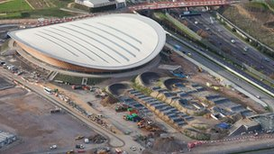 Aerial shot of the Velodrome and BMX track in the Olympic Park, Stratford, picture taken on 5 December 2011 by Anthony Charlton