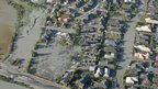 Aerial photo showing the Burwood and New Brighton areas of Christchurch damaged by liquefaction
