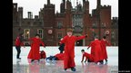 Members of Chapel Royal Choir boys' choir attempt to skate