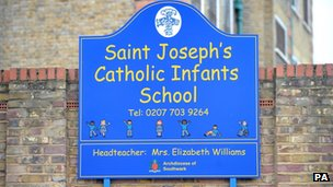 A sign for St Joseph's Catholic Infants' School in Camberwell, south London