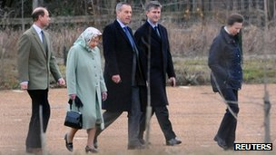 (Left to right) Prince Edward, The Queen, security officer, Vice-Admiral Tim Laurence and Princess Anne