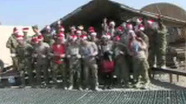 Soldiers sing 'Snow is falling'
