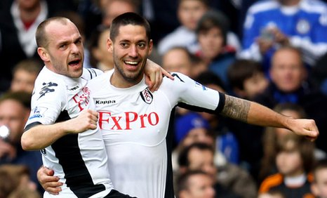 Fulham's Danny Murphy celebrates with goalscorer Clint Dempsey at Chelsea