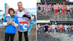 Hundreds ran into the sea at 11:00 GMT to raise money for the Big C