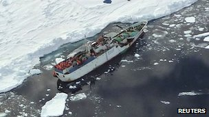 The Sparta in Antarctic ice, on 17 December 2011