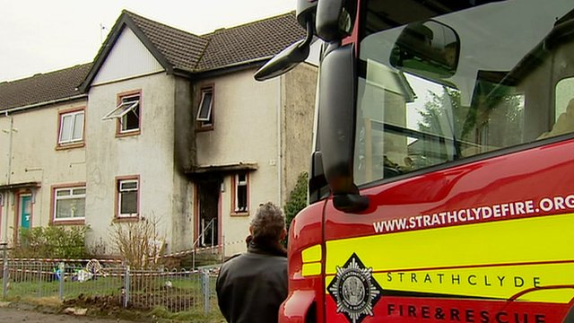 A fire at a terraced house in Altonhill Avenue, in Kilmarnock 