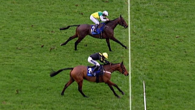 After a thrilling finish in the day's opening race at Chepstow, Palace Jester and Rev It Up cannot be separated and the race is declared a dead heat