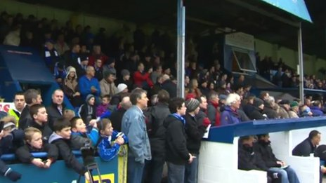 Crowd at Bangor City's Farrar Road ground for the final time