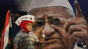 A young supporter of Indian anti-corruption activist Anna Hazare, depicted in photograph in background, wears a cap that reads &quot;I am Anna&quot; as he hold the Indian flag during a protest against corruption in Ahmadabad, India