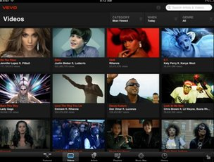 Vevo iPad app screenshot