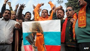 Anti-Russian protest by Shiv Sena Hindus in Amritsar, 26 Dec 11