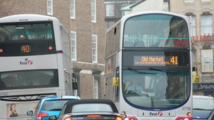Two buses in Park Street, Bristol