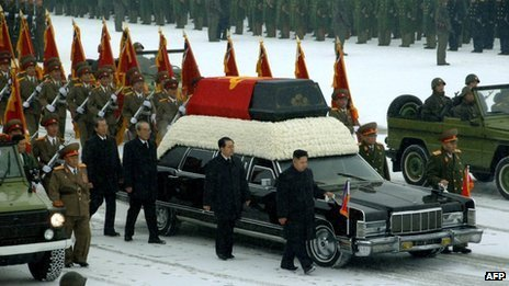 Kim Jong-un, centre right, followed by his uncle, Chang Song-taek, escort Kim Jong-il&#039;s coffin (28 December 2011)