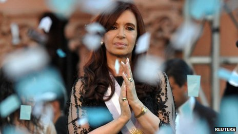 Argentine President Cristina Fernandez during the inauguration for her second term  on 19 December 2011