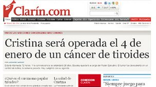 Clarin website with headline: Cristina will have operation for thyroid cancer on 4 January