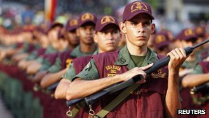 Members of Venezuela's People's Guard parade in Caracas, 17 November 2011